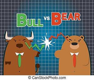 cute big bull bear cartoon versus in stock market