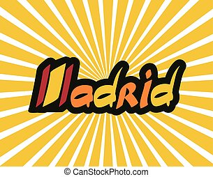 Madrid hand lettering text abstract vector illustration