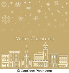 Festive Christmas background with a town