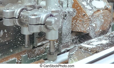 Process of working of window factory machine in full HD
