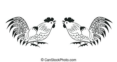 Fighting cocks on a white background. Symbol of Chinese...