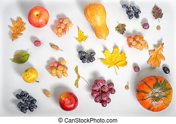 flat lay of Thanksgiving holiday background with apple,...