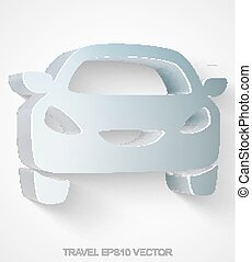 Vacation icon: extruded Metallic Car, EPS 10 vector.