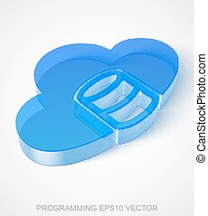 Software icon: extruded Blue Transparent Plastic Database With Cloud, EPS 10 vector.