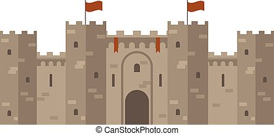 Medieval castle with fortified wall and towers