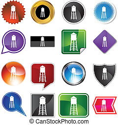 Water Tower web button isolated on a background.