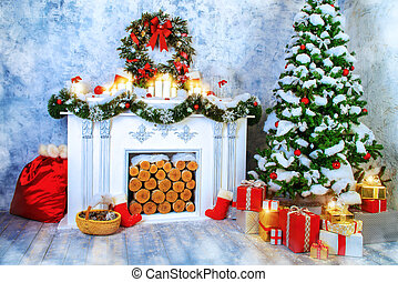 interior decoration - Home interior. A room with a fireplace...