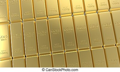 3d rendering set of gold bars isolated on white background