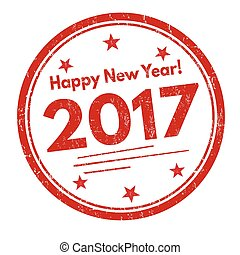 Happy new year sign or stamp - Happy new year grunge rubber...