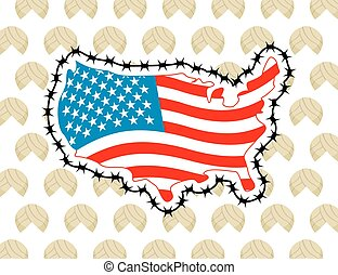 US Map with barbed wire. America closes border in relation...