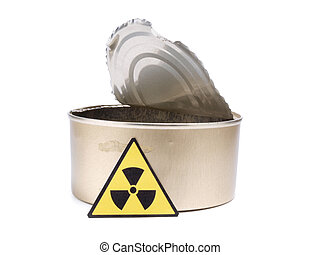 Tin and radiation sign on a white background