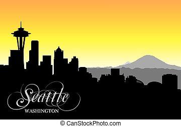 Seattle skyline, silhouette