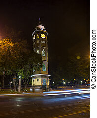 Clock tower at night - Clock tower in downtown Guayaquil, on...