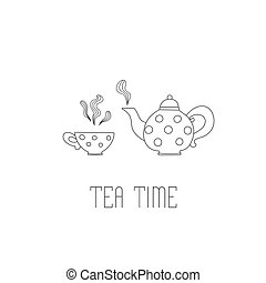 Polka dots teapot and cup with tea on white background.