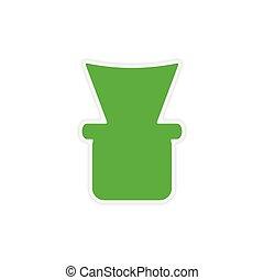 icon sticker realistic design on paper shisha bowl