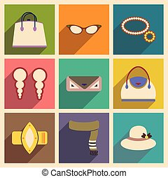 Modern flat icons vector collection with shadow fashion