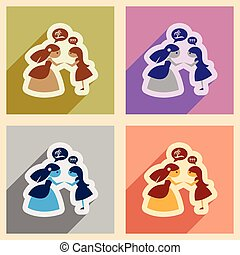Set of flat web icons with long shadow bride friend