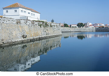 View of Peniche - Town of Peniche, particular of the river,...