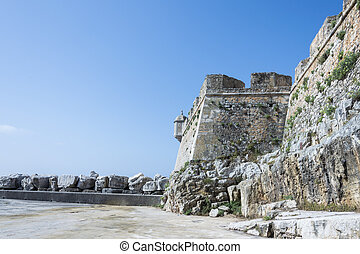 View of Peniche, Portugal - Peniche city wall at Atlantic...