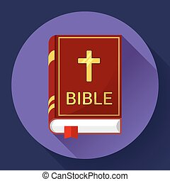 bible icon with long shadow - Holy Book icon bible icon flat...