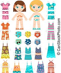 Paper dolls. Vector - Paper doll with a set of summer...