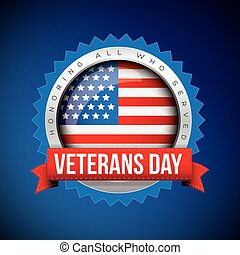 Veterans Day vector badge with ribbon