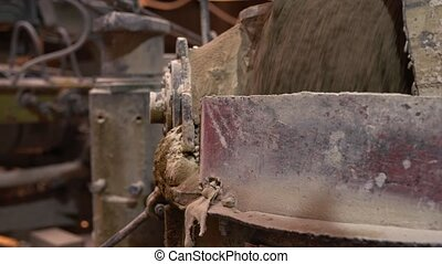 Brick industry. View of manufacturing process, close-up