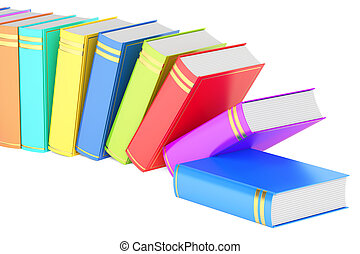 row of books, 3D rendering