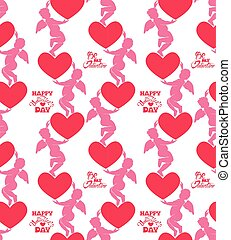 Seamless pattern with silhouettes of angel and heart....