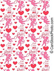 Seamless pattern with silhouettes of angel and heart,...