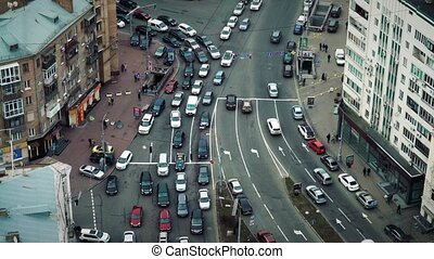 Busy Traffic in the City Center. Timelapse - Busy Traffic in...