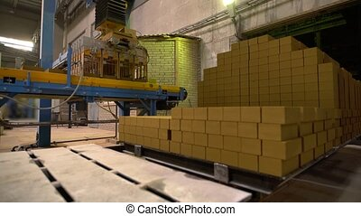 Industry. View of pallet with bricks in workshop - Industry....