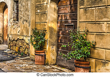 old wooden door in Tuscany