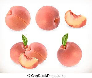 Peach. Sweet fruit. 3d vector icons set. Realistic...
