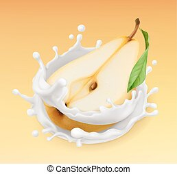 Pear and milk splash. Fruit and yogurt. Realistic...