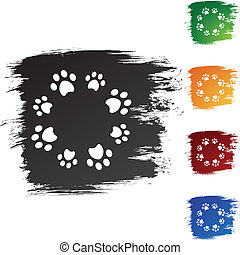 Paw Print web button isolated on a background.