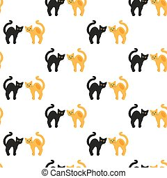 Cats. Vector seamless pattern.