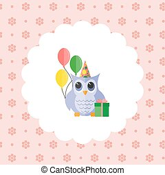 Owl in a cap with balloons and a gift.