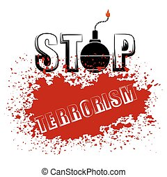 Bomb Icon. Stop Terrorism Banner. - Bomb Icon on Red Grunge...