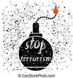 Bomb Icon. Stop Terrorism Banner. - Bomb Icon Typography...