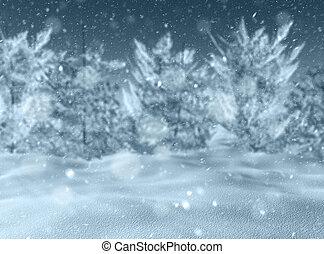 3D snowy landscape - 3D render of a defocussed snowy...