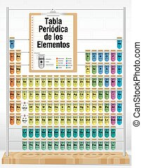 TABLA PERIODICA DE LOS ELEMENTOS -Periodic Table of Elements in Spanish language- consisting of test tubes with the names and number of each element - Chemistry