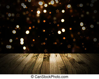 Wooden table with defocussed Christmas image - 3D render of...