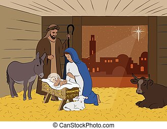 Christmas Nativity Scene Illustration - Traditional...