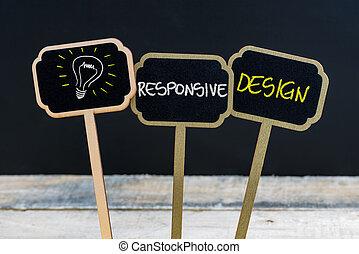 Concept message RESPONSIVE DESIGN and light bulb as symbol for idea