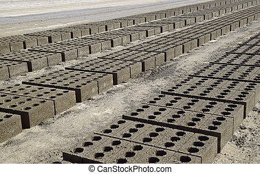 Cinder blocks lie on the ground and dried. on cinder block...