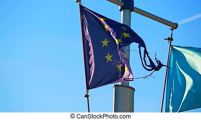 Broken Flag Of The European Union - European Union Broken...