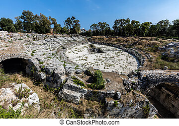 Roman amphitheater in Syracuse, Sicily, Italy dates back to...