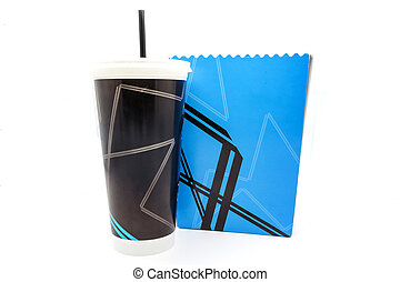 Empty popcorn bucket and paper cup isolated on a white...