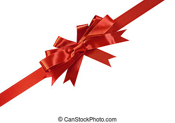 Diagonal red gift bow and ribbon isolated on white background
